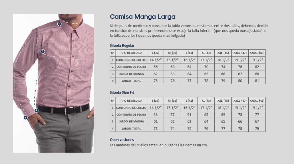 Guía de tallas, camisa manga larga