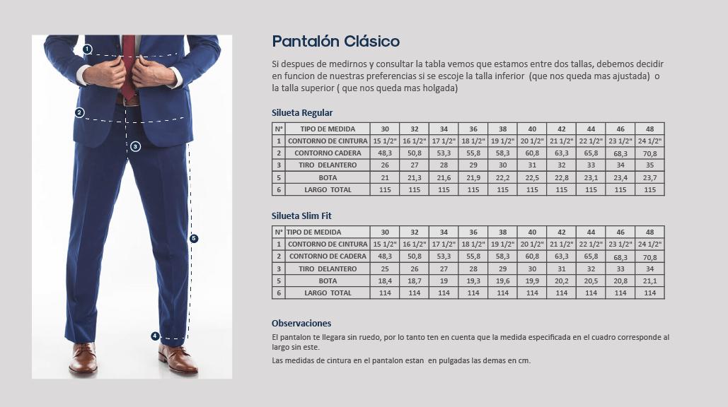 Guía de tallas, pantalón clásico