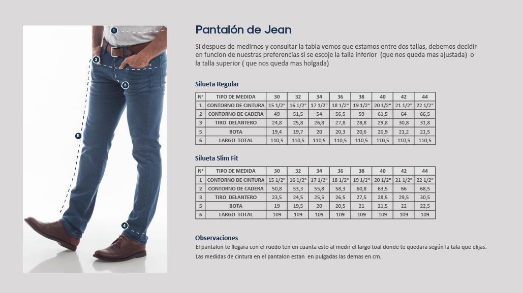 Guía de tallas, jean